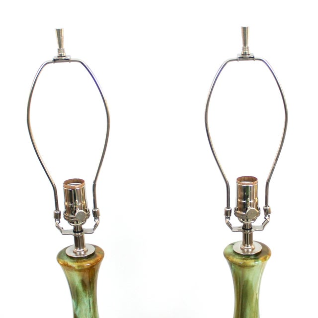 Mid-Century Restored Green Pottery Lamps - Pair - Image 7 of 9