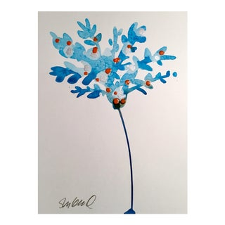 """Blue Botanical"" Original Watercolor Painting"