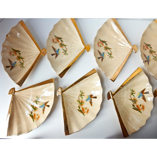Vintage Fan Shaped Plates - Set of 8 For Sale In Chicago - Image 6 of 9