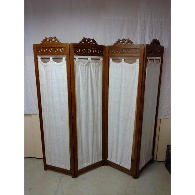 Vintage Carved Wood Room Screen Linen Panels For Sale - Image 4 of 12