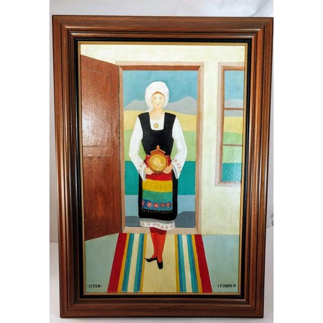 Vintage Mid-Century Bulgarian Soukman Saya Costume Folk Art Painting For Sale - Image 4 of 11