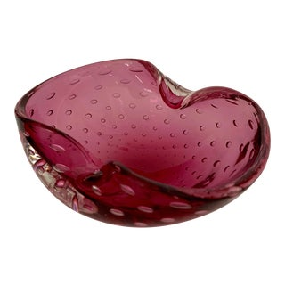 Cranberry Murano Bowl For Sale