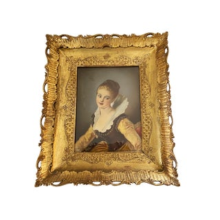"Antique Victorian Painting W/Gold Frame 15"" H by 12.5"" W For Sale"