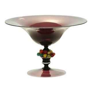 Salviati, Murano Handblown Amethyst Center bowl with Applied Fruit For Sale