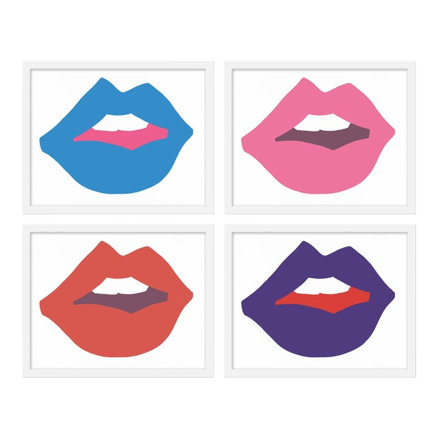 "Medium ""Kiss Me (With Purple)"" Print by Angela Chrusciaki Blehm, 40"" X 32"" - Set of 4 For Sale"