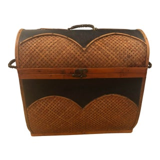 1940s Vintage Leather and Rattan Woven Handled Basket For Sale