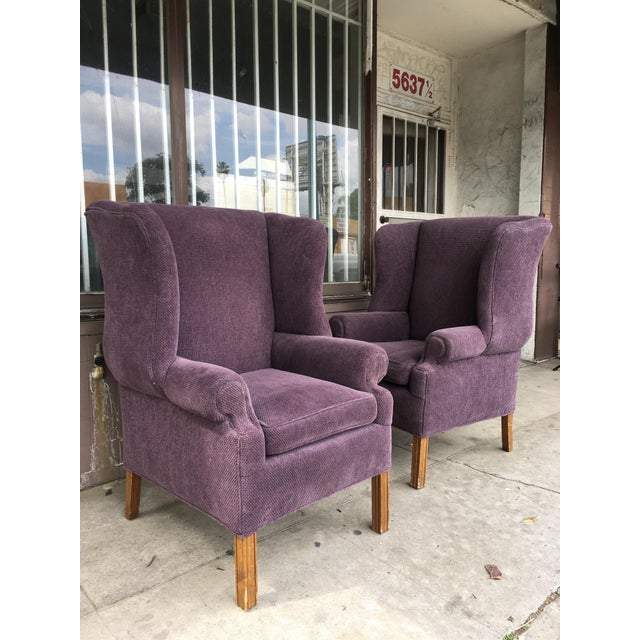 1970s Vintage Wingback Chairs- A Pair For Sale - Image 9 of 10