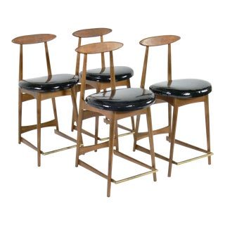 Danish Inspired Walnut Counter Stools -Set of 4