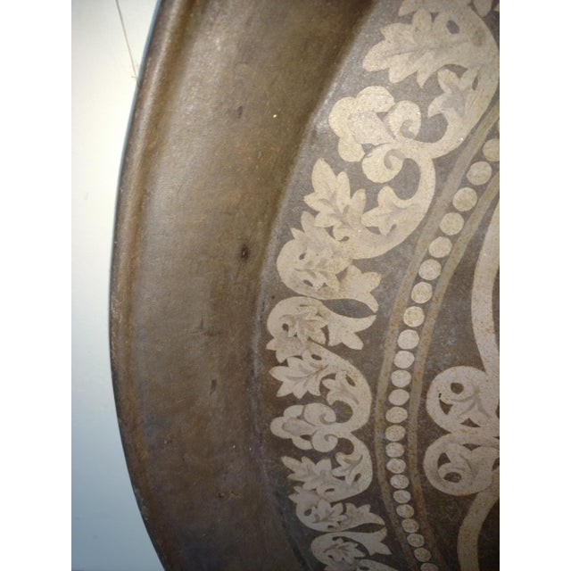 Huge Antique Hand Painted Metal Festival Tray For Sale - Image 4 of 7