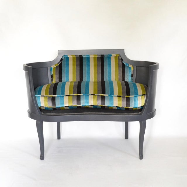 Antique Mahogany Striped Velvet Upholstered Settee Arm Chair For Sale - Image 4 of 7