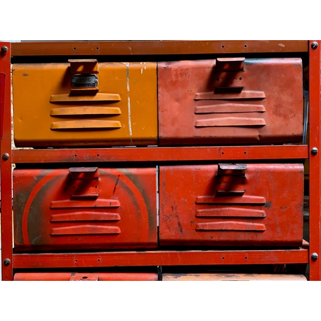 Vintage Industrial Orange 10-Basket Metal Locker Storage For Sale - Image 11 of 13