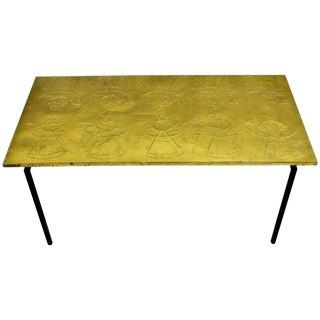 Scandinavian Modern Raymor Repoussé Brass Table For Sale