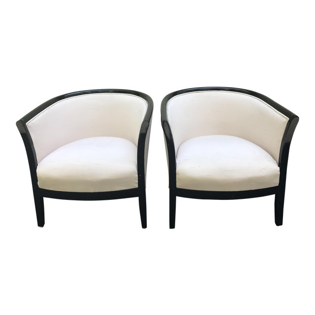 Blush Club Chairs With Black Lacquer Frame - Ward Bennett Style - a Pair - Image 1 of 10