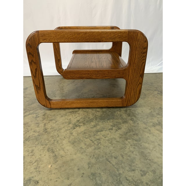 1970s Mid-Century Modern Lou Hodges Oak and Smoked Glass End Tables -- Set of 2 For Sale In Charlotte - Image 6 of 12