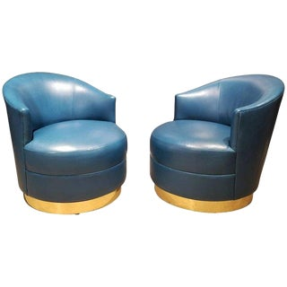 Karl Springer Brass & Original Teal Leather Swivel Chairs - A Pair For Sale