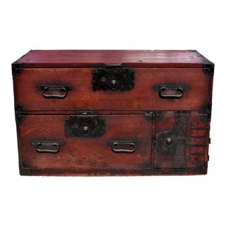 19th Century Antique Japanese Low Tansu Chest With Iron Pulls For Sale