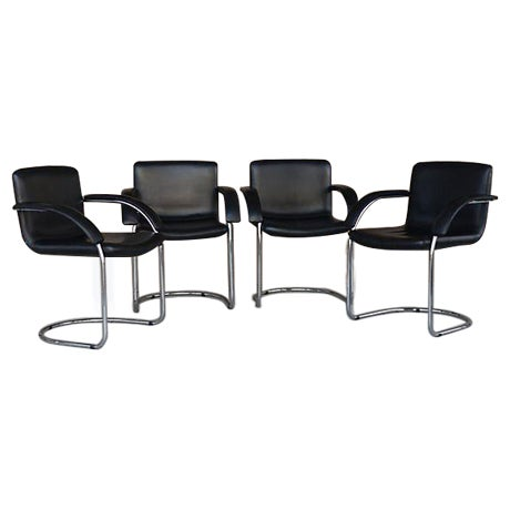Leather Arm Chairs by Saporiti Italia - Set of 4 - Image 1 of 10