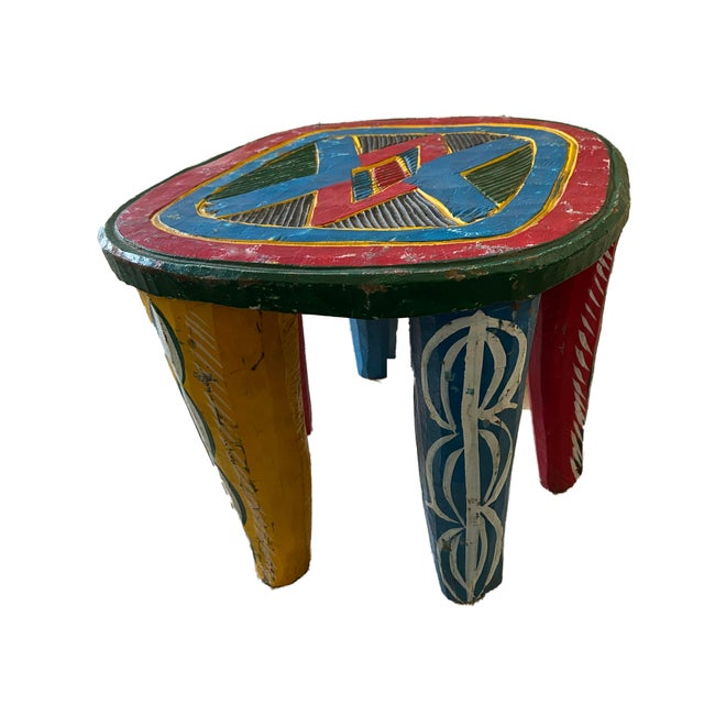 "African Old Nupe Stool Nigeria 11.5"" H For Sale - Image 4 of 13"