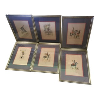 6 Matching Antique French Military Prints Hand Colored Eugene Titeux For Sale