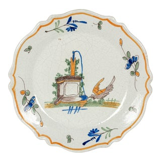 19th Century French Malicorne Faience Plate For Sale