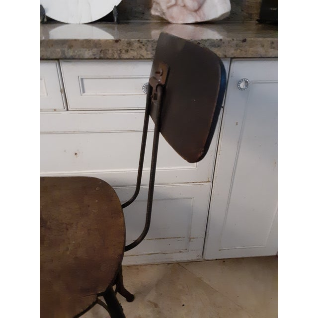 Metal 19th Century Vintage French Drafting Wood and Iron High Stool For Sale - Image 7 of 9