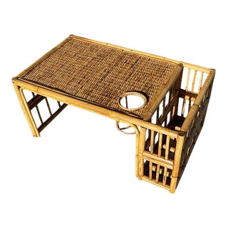 Ready Chinoiserie Bamboo Breakfast Bed Tray With Magazine Rack and Cup Holder For Sale