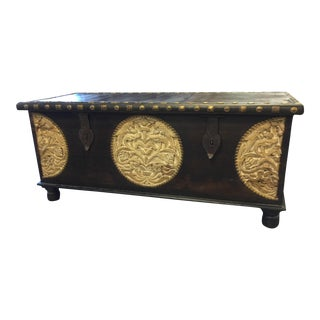 Vintage Tobacco Dark Brown Trunk Coffee Table