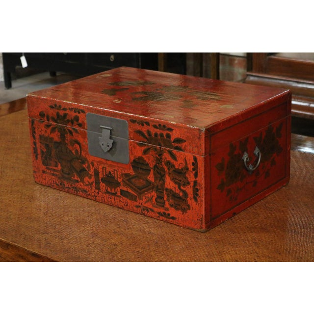 Late 19th Century Red Lacquer Painted Trunk, Shanxi Province, China, c. 1880