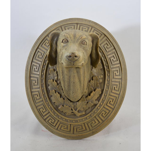 Art Deco Vintage Wooden Hand-Carved Decorative Dog Head in the Middle of the 20th Century For Sale - Image 3 of 5