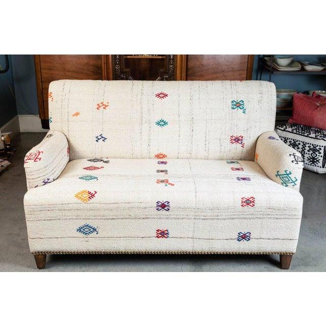 Custom-Made Settee, Upholstered in a Vintage Flat-Weave Kilim Rug For Sale - Image 4 of 7