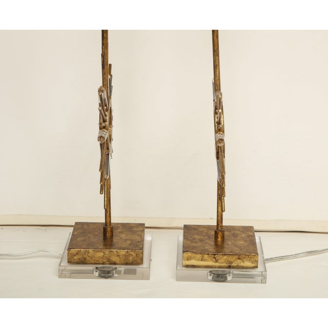 Metal Gilt Metal Sunburst Lamps For Sale - Image 7 of 10