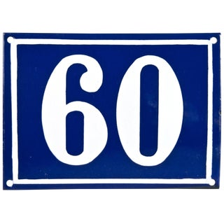 Large Vintage French Enamel House Number 60 For Sale