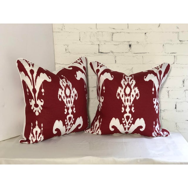 Pair of Red and White Ikat Pillows by Jim Thompson For Sale - Image 10 of 10