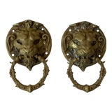 Image of 19th Century French Brass Lion Heads Door Knockers-a Pair For Sale