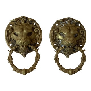 19th Century French Brass Lion Heads Door Knockers-a Pair For Sale