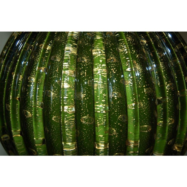 Brass Vintage Murano Glass Stacked Ball Murano Lamps Green Gold For Sale - Image 7 of 10
