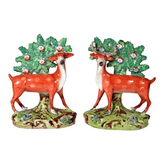 Early Staffordshire Pottery Deer Bocage Figures - a Pair For Sale