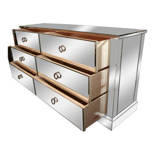 Custom Six-Drawer Mirrored Dresser For Sale