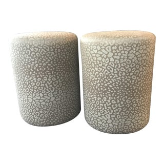 Mid-Century Modern Almond Leopard Print Upholstered Ottomans - a Pair