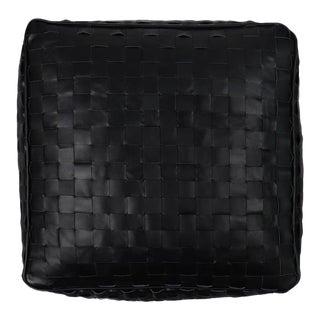 Unstuffed Leather Ottoman Dakota Black Pouf For Sale