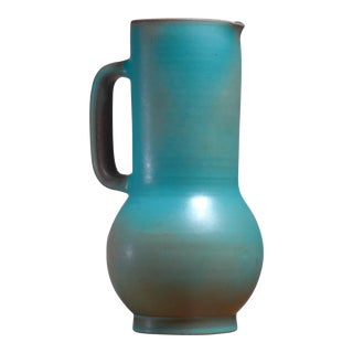 Suzanne Ramie Greenish Blue Madoura Ceramic Pitcher, Vallauris, France, 1950s For Sale