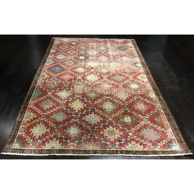 "Turkish Distressed Look Zeki Muren Rug - 5'6""x8'10"" - Image 2 of 8"