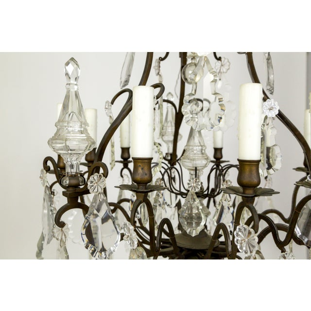 Parisian Second Empire Style Darkened Brass Chandeliers - a Pair For Sale - Image 4 of 13