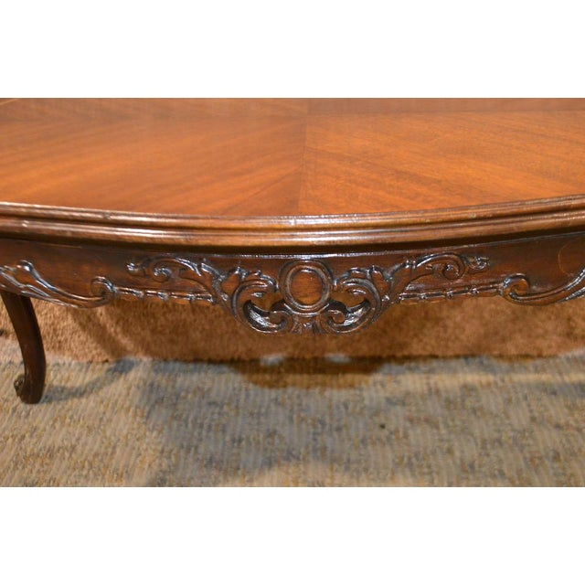 Vintage French Style Carved & Inlaid Petite Cocktail Table For Sale - Image 9 of 11