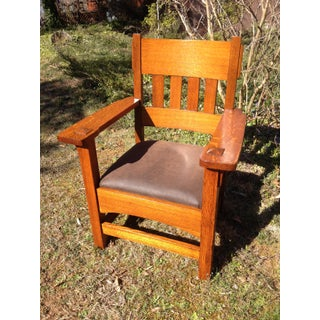 1920s Vintage Morris Stickley Style King Tiger Oak Lounge and Arm Chair Preview