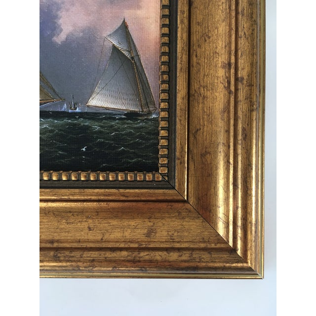 Nautical America's Cup Sailing Ships Framed Reproduction Painting For Sale - Image 3 of 4