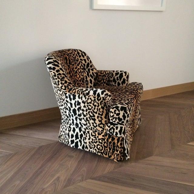 Mid Century Velvet Leopard Print Club Chair For Sale - Image 5 of 7