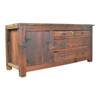 Late 19th Century Antique Rustic Primitive Pine Factory Cabinet or Work Bench With Age Patina For Sale
