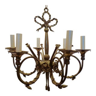 Spanish Trumpet Brass Light Fixture For Sale
