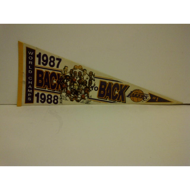 A Vintage -- NBA Basketball Team Pennant -- Los Angeles Lakers -- World Champions #1 -- 1987-1988 -- Back To Back -- The...